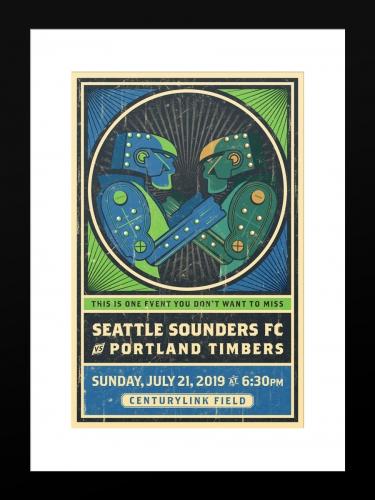 Sounders FC vs Portland Timbers | Basic 12 x 18 2019
